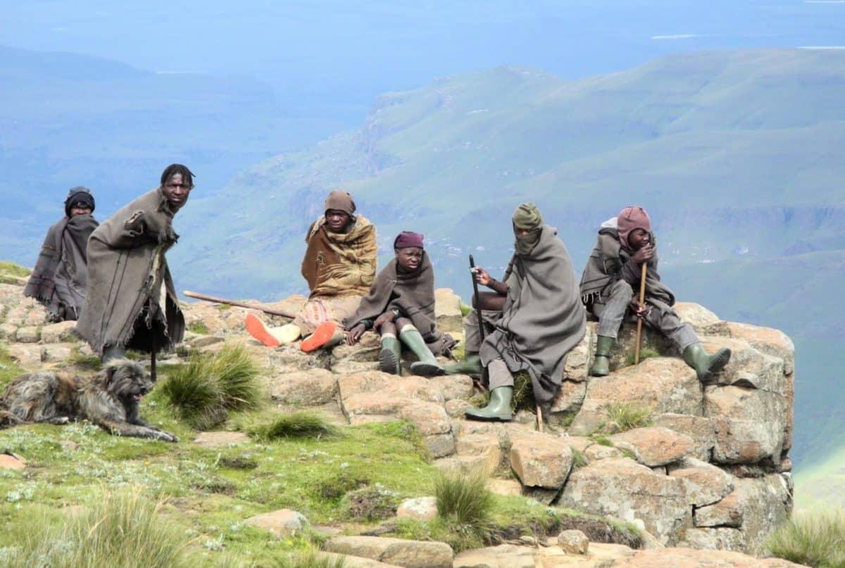 Lesotho Shepherds on the edge of Sani Pass
